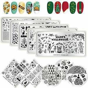 BORN PRETTY Nail Art Stamping Plates Image Stamp Stencils Templates Flowers Tool