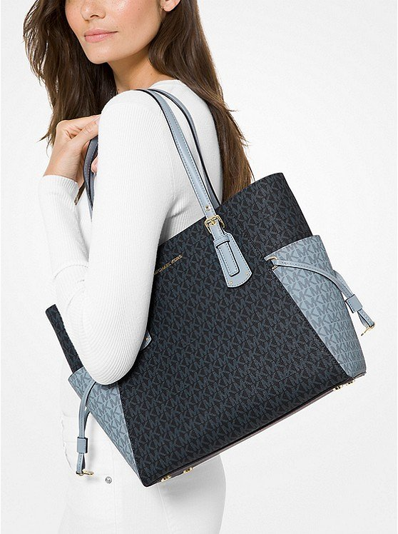 Voyager Small Two-Tone Logo Tote Bag