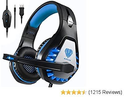Pacrate Gaming Headset for Xbox One,Xbox Series X,PS4, PS5,PC, Mac,Laptop with Noise Cancelling Mic - Surround Gaming Headphones - Soft Memory Over Ear PS4 Headset with LED Light for Child, Men, Women