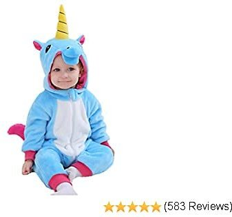 Tonwhar Toddler Infant Tiger Dinosaur Animal Fancy Dress Costume Hooded Romper Jumpsuit
