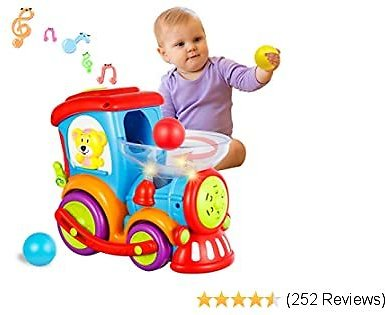 HISTOYE Toddler Toys Train for Boy Girl Age 2 3 4 Baby Educational Drop and Go Toy Train with 3 Popper Ball Music and Light Baby Toys for Preschool Learning, Developmental Toys for 2 3 4 5 6 Year Olds