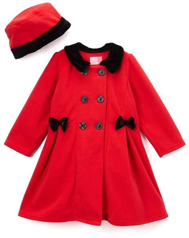 Red Double-Breasted Fleece Coat & Hat - Toddler & Girls