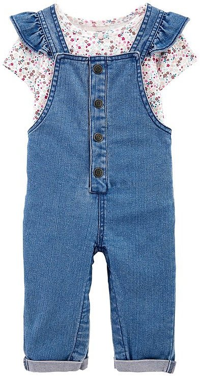 White Floral Bodysuit & Blue Ruffle-Strap Denim Overalls - Newborn & Infant
