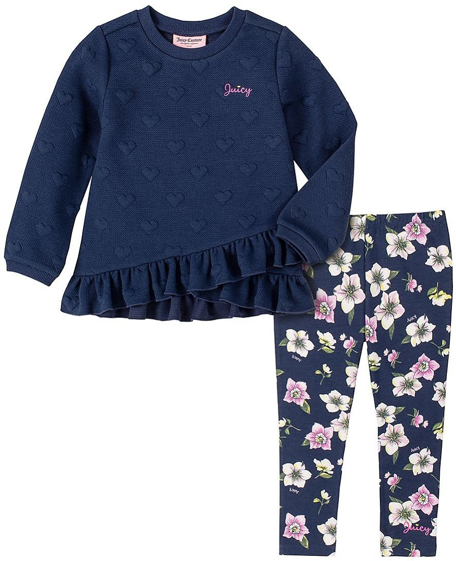 Love This Product Navy Ruffle-Accent 'Juicy' Sweatshirt & Floral Leggings - Infant, Toddler & Girls