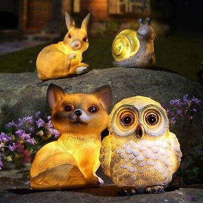 Outdoor Solar Power Resin LED Animal Light Garden Path Yard Ornament Decor Lamp
