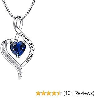 NUOKUN I Love You Mom S925 Sterling Silver Heart Pendant Necklace Mother's Birthday Gift