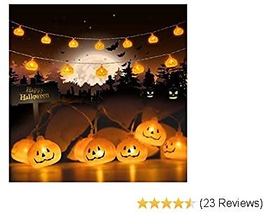 AOLIY Halloween Pumpkin String Lights, 20 LED Battery Powered 118 Inches Holiday Pumpkin Lantern Lights Holiday Lights for Indoor Outdoor Party Decorations
