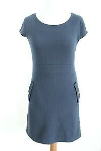VILA Clothes Dark Blue Short Sleeve Round Neck Dress with Pockets Size M