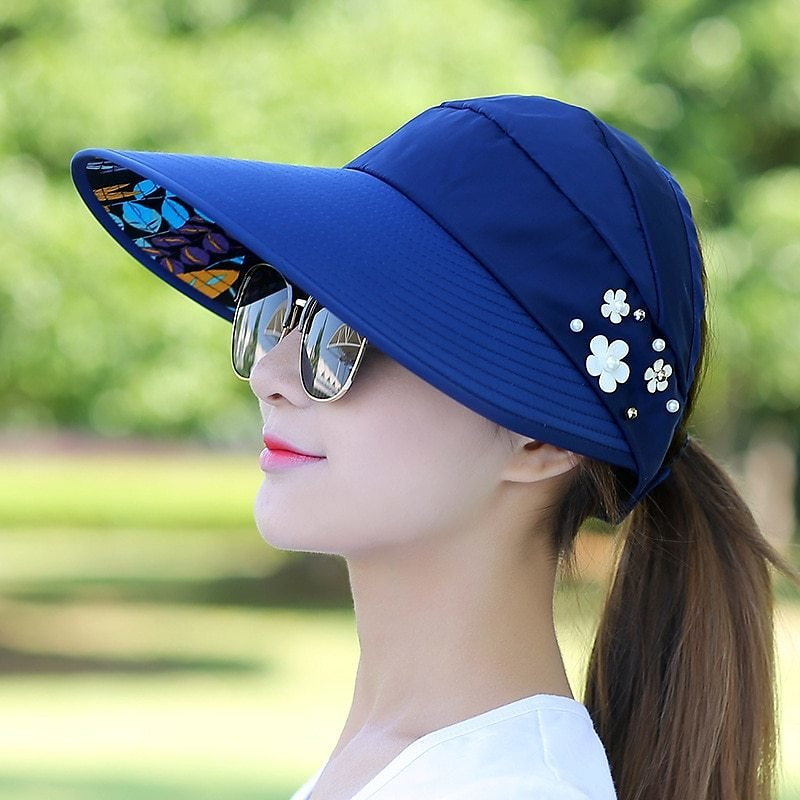 US $1.0 |Sun Hats for Women Visors Hat Fishing Fisher Beach Hat UV Protection Cap Black Casual Womens Summer Caps Ponytail Wide Brim Hat|Women's Sun Hats| - AliExpress