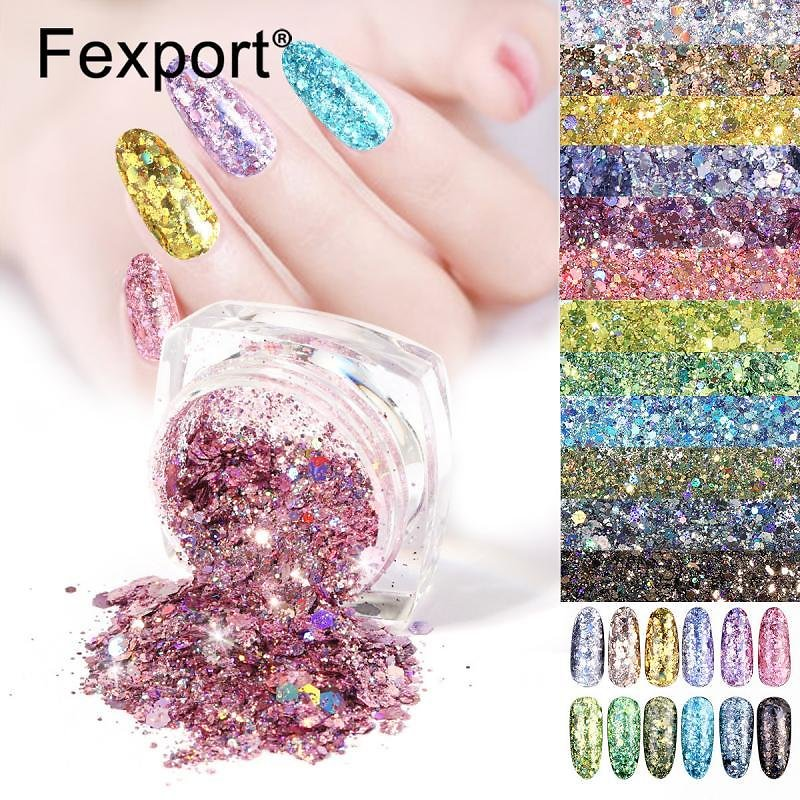 US $0.14 19% OFF|New 3D Glitter Nail Flakes Hexagon Colorful Sequins UV Gel Polish Sparkling Powder Dust DIY Charm Pigment Glitter Flakes Make Up|Nail Glitter| - AliExpress