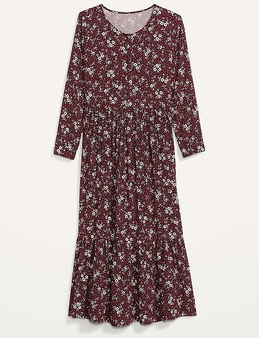 Floral-Print Button-Front Maxi Swing Dress for Women
