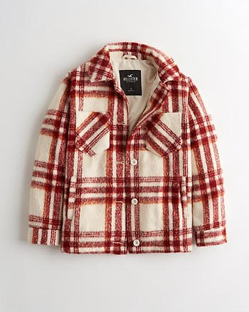 Girls Cozy Brushed Shirt Jacket | Girls Jackets & Coats | HollisterCo.com