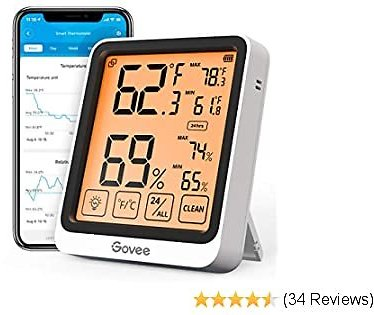 Govee Bluetooth Hygrometer Indoor Thermometer, Digital Wireless Temperature Humidity Gauge with 4.5 Inch Large Backlight LCD