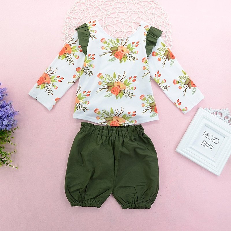 2pcs Baby Girl Sweet Floral Baby's Sets Long-sleeve Cute Clothing Outfit