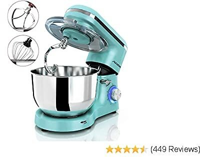 Nurxiovo 6.5QT Stand Mixer 660W Dough Hook Whisk Beater 6-Speed Electric Mixer Kitchen Tilt-Head Food Mixer with Stainless Steel Bowl (Mint Green)