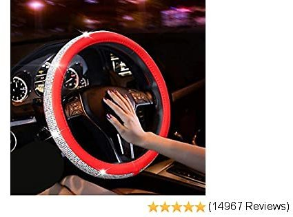 New Diamond Leather Steering Wheel Cover with Bling Bling Crystal Rhinestones, Universal Fit 15 Inch Car Wheel Protector for Women Girls (Red with Colorful Diamonds)