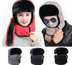 Warm Windproof Face Mask Cap for Women Men Winter Fur Hat Thick Cold Weather
