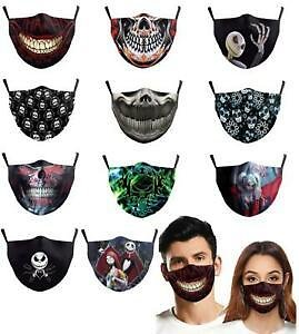 Halloween Face Mask Washable Reusable Adult Mouth Protection Cover Skull Print