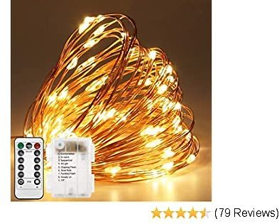 Twinkle Star 2 Pack Copper Fairy Lights Battery Operated, 33ft 100 LED Waterproof Christmas String Lights with Remote Timer 8 Modes Indoor Outdoor Christmas Tree Wedding Party Decorations, Warm White