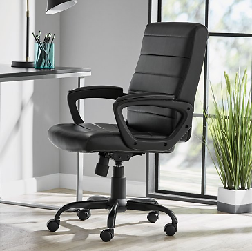 Mainstays Bonded Leather Mid-Back Manager's Office Chair, Black