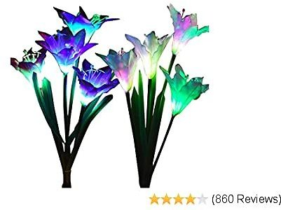 Outdoor Solar Garden Stake Lights - Wohome 2 Pack Solar Flower Lights with 8 Lily Flower,Multi-Color Changing LED Lily Solar Powered Lights for Patio,Yard Decoration
