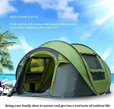 3-4 Person Automatic Pop Up Tent Waterproof Portable Outdoor Camping @ #