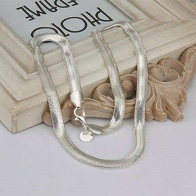 925 Sterling Solid Silver 6MM Snake Chain Men Women Jewelry Necklace 16-30 Inch
