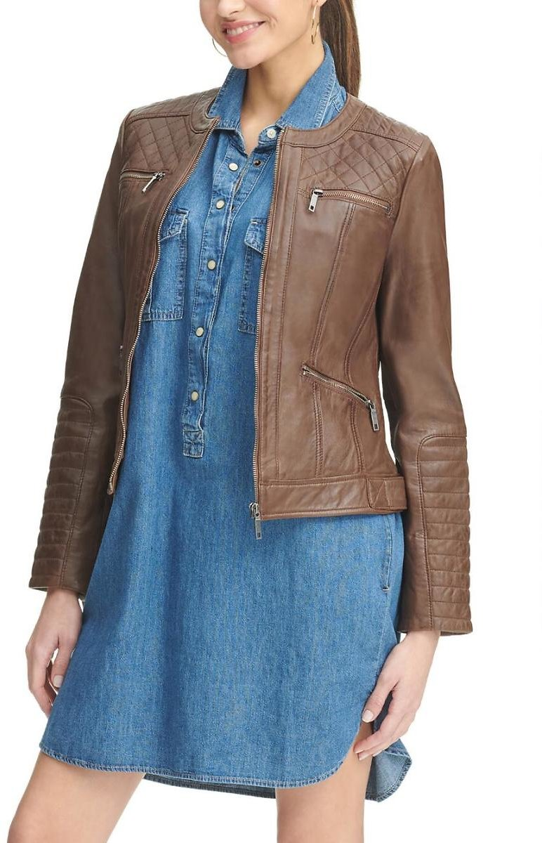 Quilted Shoulder Lamb Scuba Jacket - Wilsons Leather