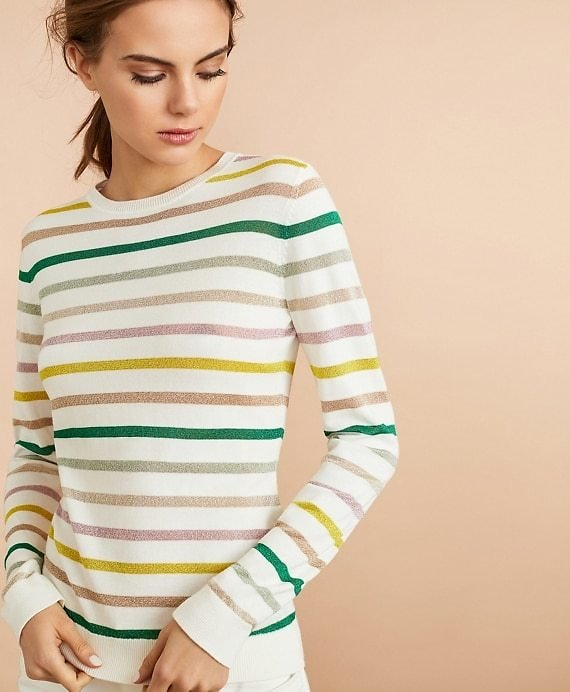 Shimmer Stripe Sweater - Brooks Brothers