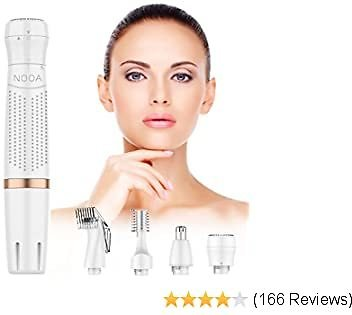 NOOA Bikini Trimmer for Women, 4 in 1 Electric Ladies Shaver Facial Hair Painless Multi Grooming Kit Cordless Wet and Dry Shaver