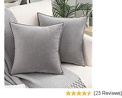 Woaboy Pack of 2 Decorative Velvet Throw Pillow Cover Soft Solid Square Cushion Covers Modern Style Pillowcases for Couch Bed Sofa Living Room Car Outdoor 20x20inch 50x50cm Grey