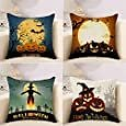 TechFocus Halloween Fall Decorative Throw Pillow Covers Pack of 4, Bat Cat Moon Castle Pumpkin Decor Cotton Linen Cushion Covers 18 X 18 - Ideal for Both Living and Kids Room: Home & Kitchen