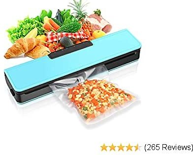 SKYGRAND Vacuum Sealer Machine, Automatic Food Sealer Air Sealing System for Food Savers W/Starter Kit|Seal a Meal Foodsave Packing|Led Indicator Lights|Dry & Moist Food Modes| (15 Pack Bags)