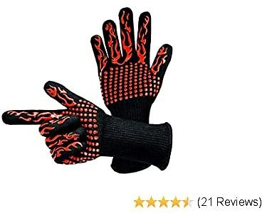 Lythor BBQ Gloves 1472℉ Extreme Heat Insulation Oven Mitts Silicone Cooking Gloves for Grill, Baking, Fireplace, Barbecue, Boiling,Welding, Cutting (Flame, 2)