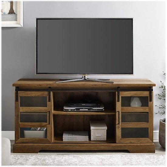 Walker Edison Modern Barn Door TV Stand Cabinet for Most Flat-Panel TVs Up to 64