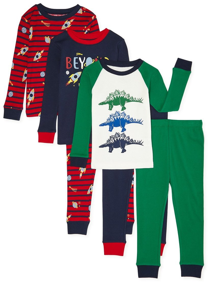 Wonder Nation Baby & Toddler Boys Snug Fit Cotton Long Sleeve Pajamas 6-Piece Set (4 Styles)
