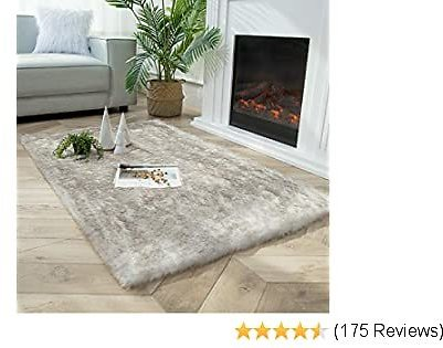 Ashler Soft Fox Faux Fur Chair Couch Cover Area Rug for Bedroom Floor Sofa Living Room White Brown Rectangle 3 X 5 Feet