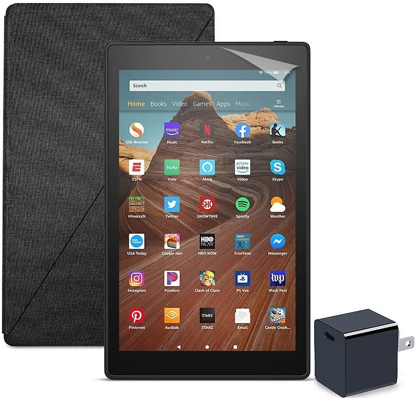 Fire HD 10 Tablet (32 GB, Black, With Special Offers) + Amazon Standing Case (Charcoal Black) + Nupro Screen Protector (2-pack) + 15W USB-C Charger: Kindle Store