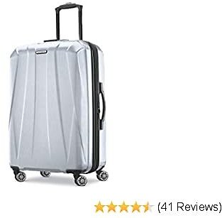 Samsonite Centric 2 Hardside Expandable Luggage with Spinner Wheels, Silver, Checked-Medium 24-Inch