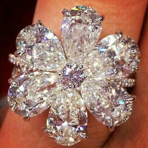 Charming Women Jewelry Silver Plated White Sapphire Floral Flower Ring Wedding