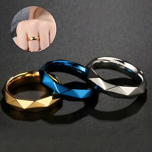 Fashion Engagement Rings Couple Wedding Jewelry 6mm Titanium Steel Ring Gift