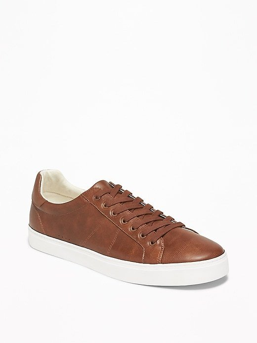 Faux-Leather Sneakers for Men