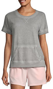 Ambrielle Womens French Terry Pajama Top Round Neck
