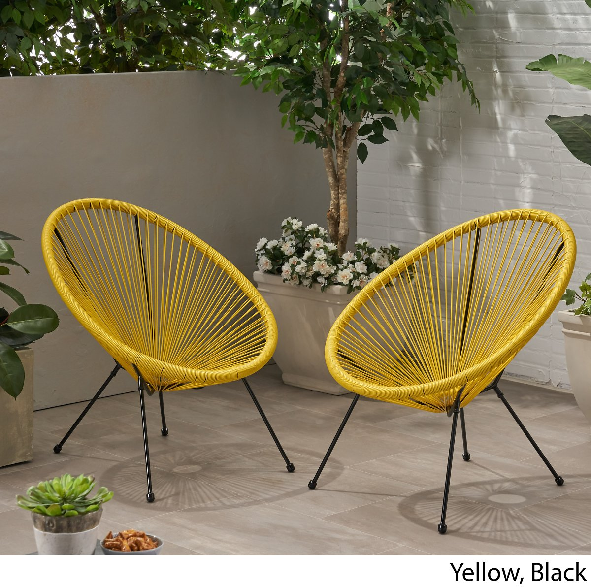 Yanais Outdoor Hammock Weave Chair with Steel Frame, Set of 2, Black