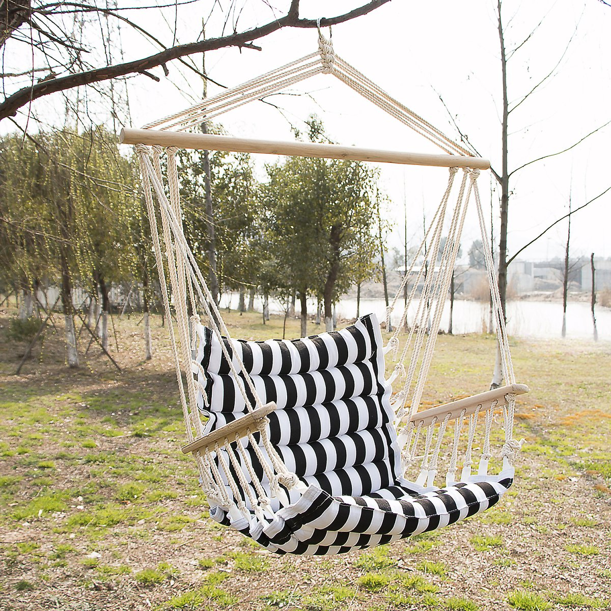 Patio Padded Cotton Hammock Hanging Rope Chair Indoor Outdoor Swing White and Black Strip
