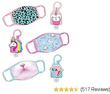 ABG Accessories Girls 3-Pack Kids Face Mask and Hand Sanitizer Holder Keychain