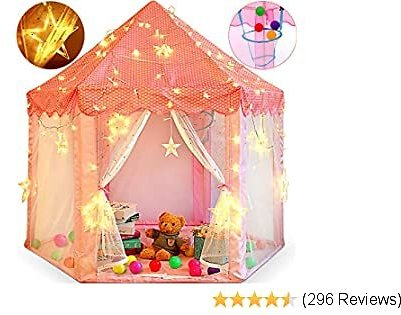 ZNCMRR Princess Castle Play Tent for Little Girls with Large Star String Lights & Balls ,Kid's Hexagon Playhouse for Children Indoor and Outdoor Games 55'' X 53'' Pink