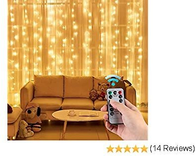 Eicaus Curtain String Light, 300 Led Fairy Lights Wall Decor for Bedroom, Room Decoration for Chrismas Wedding Party Halloween (Warm White)