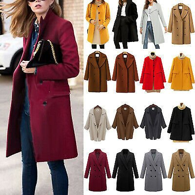 Ladies Winter Warm Long Trench Coat Jacket Tops Buttons Lounge Solid Overcoat L