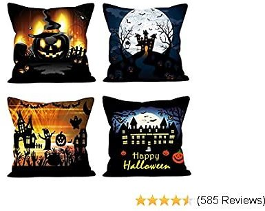 Traney Set of 4 Happy Halloween Theme Throw Pillow Covers Pumpkin Castle Pillow Case Pillow Cushion Cover Decorative for Halloween Home Car Sofa Bed Couch